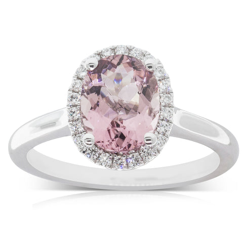 18ct White Gold 1.65ct Morganite & Diamond Halo Ring - Walker & Hall