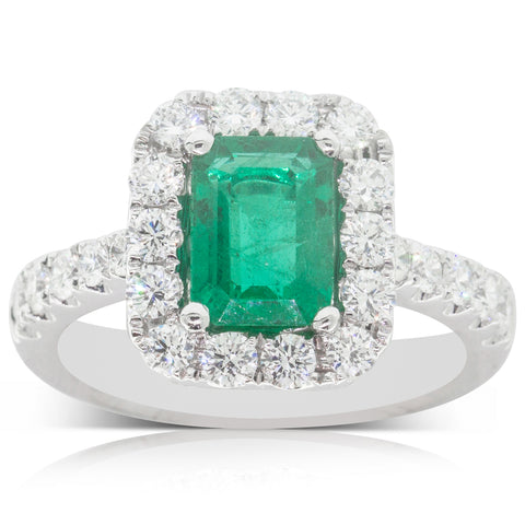 18ct White Gold 1.52ct Emerald & Diamond Halo Ring - Walker & Hall