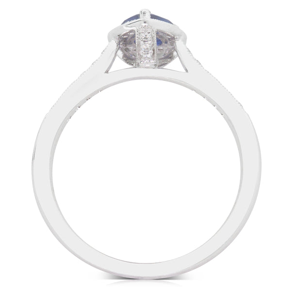 18ct White Gold .66ct Sapphire & Diamond Halo Ring - Walker & Hall