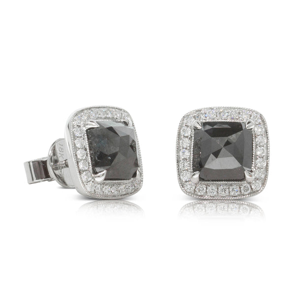 18ct White Gold 3.12ct Black Diamond Halo Earrings - Walker & Hall