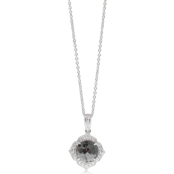 18ct White Gold 2.00ct Black Diamond Halo Pendant - Walker & Hall