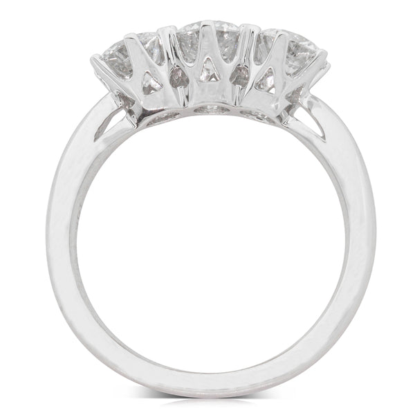 18ct White Gold 1.54ct Diamond Trilogy Ring - Walker & Hall