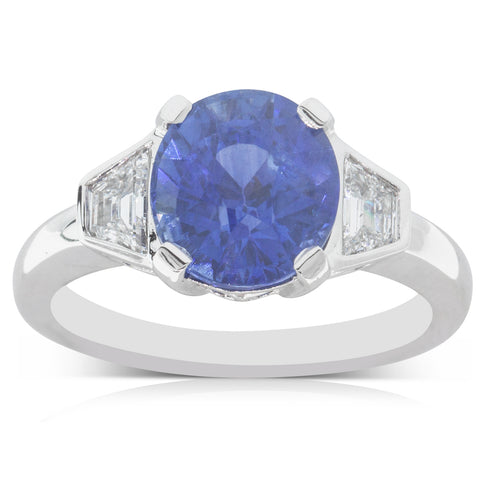 18ct White Gold 4.18ct Sapphire & Diamond Ring - Walker & Hall