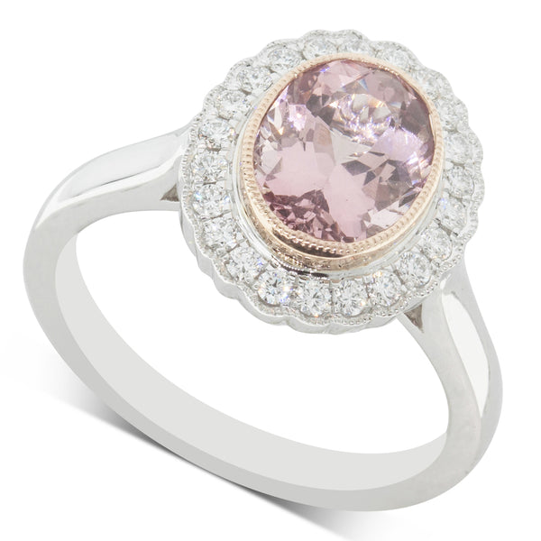 18ct White & Rose Gold 1.91ct Morganite & Diamond Halo Ring - Walker & Hall