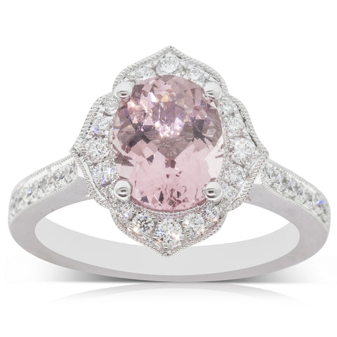 18ct White Gold 1.70ct Morganite & Diamond Halo Ring - Walker & Hall