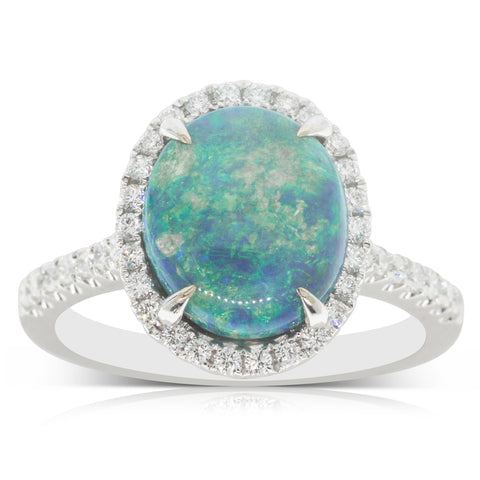 18ct White Gold 3.47ct Opal & Diamond Halo Ring - Walker & Hall