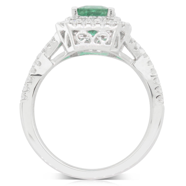 18ct White Gold 1.21ct Emerald & Diamond Halo Ring - Walker & Hall