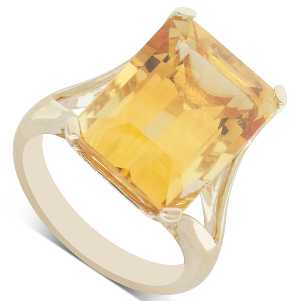 14ct Yellow Gold 11.40ct Citrine Cocktail Ring - Walker & Hall