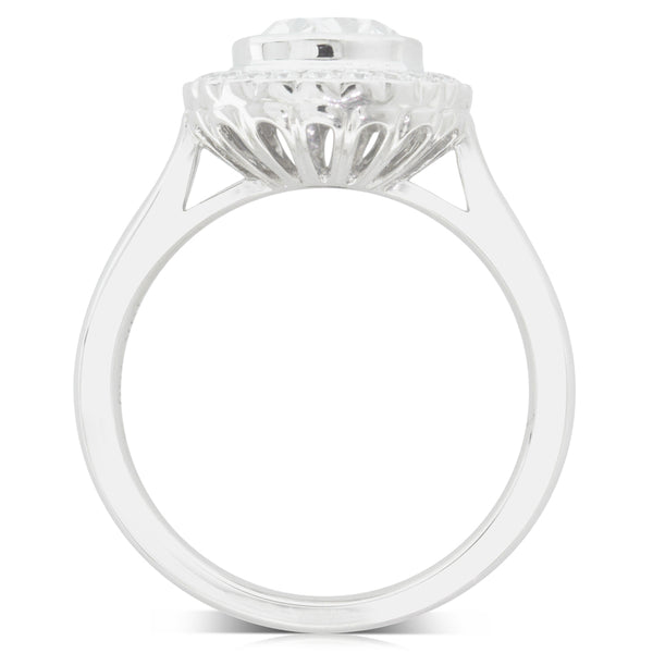 18ct White Gold 1.70ct Diamond Halo Ring - Walker & Hall