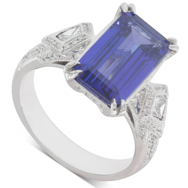 18ct White Gold 4.61ct Tanzanite & Diamond Ring - Walker & Hall