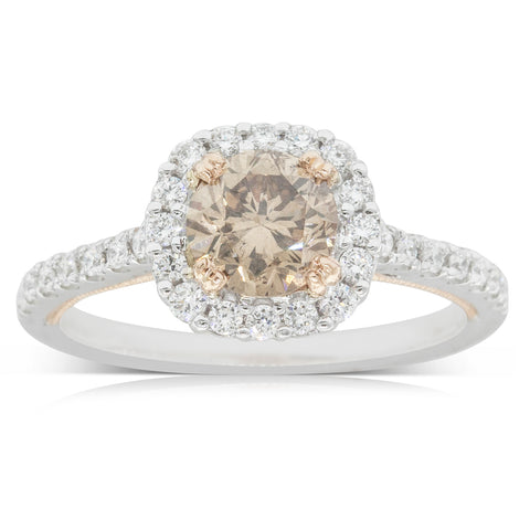 18ct White & Rose Gold 1.02ct Yellow Diamond Halo Ring - Walker & Hall
