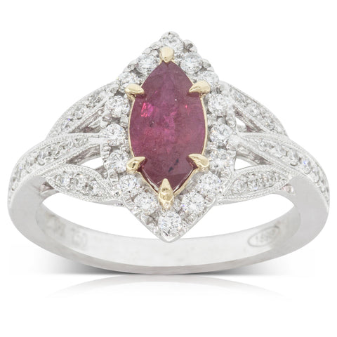 18ct Yellow Gold 1.23ct Ruby & Diamond Halo Ring - Walker & Hall