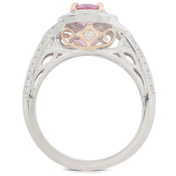 18ct White Gold .96ct Pink Sapphire & Diamond Halo Ring - Walker & Hall