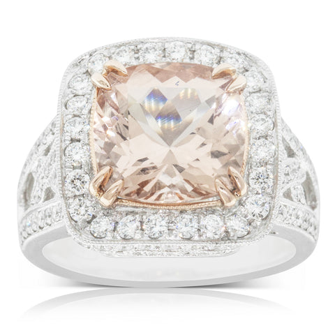 18ct White Gold 3.88ct Morganite & Diamond Halo Ring - Walker & Hall