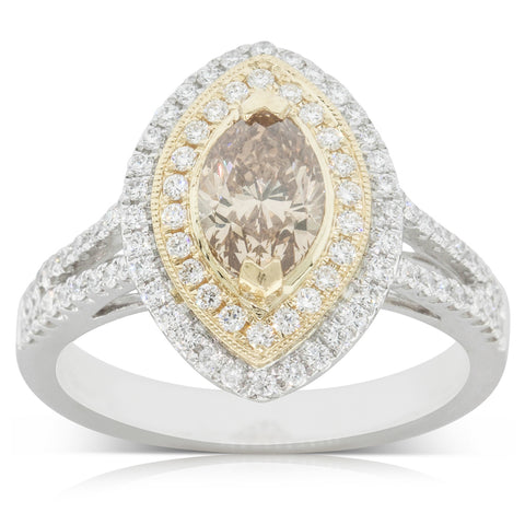 18ct White Gold 1.03ct Yellow Diamond Halo Ring - Walker & Hall
