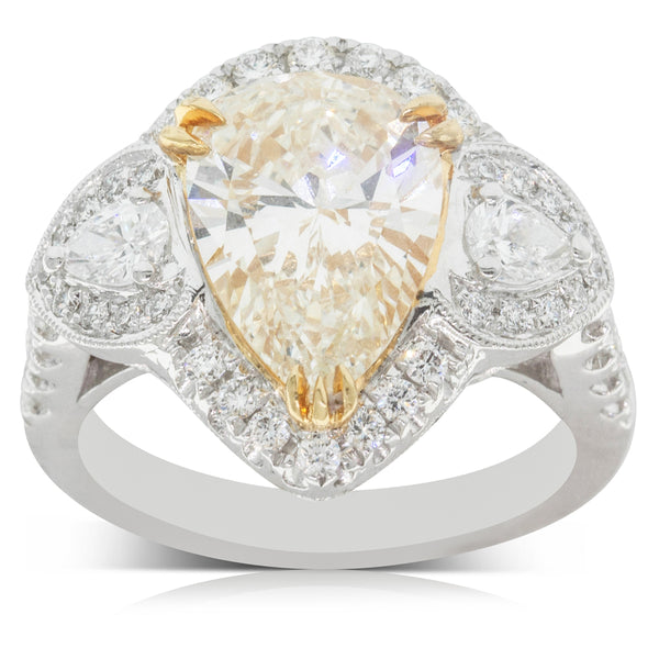 18ct White Gold 3.06ct Yellow Diamond Halo Ring - Walker & Hall