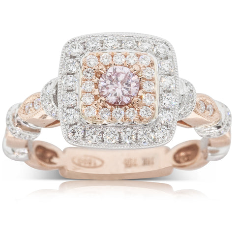 18ct White & Rose Gold .20ct Pink Diamond Halo Ring - Walker & Hall