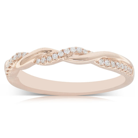 18ct Rose Gold .13ct Diamond Twist Band - Walker & Hall