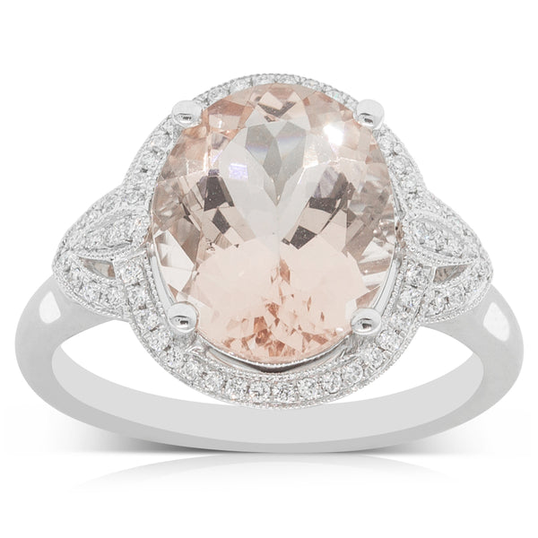 18ct White Gold 3.83ct Morganite & Diamond Halo Ring - Walker & Hall
