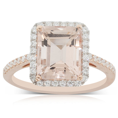 18ct Rose & White Gold 3.30ct Morganite & Diamond Halo Ring - Walker & Hall