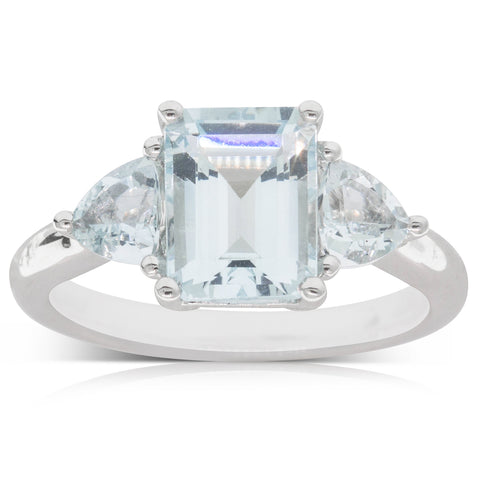 18ct White Gold 2.30ct Aquamarine Ring - Walker & Hall