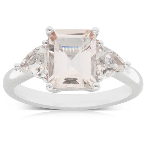 18ct White Gold 1.88ct Morganite Ring - Walker & Hall