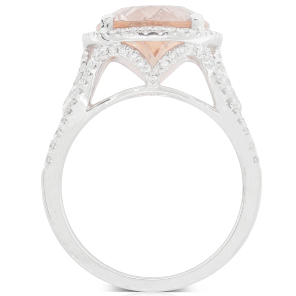 18ct White Gold 6.80ct Morganite & Diamond Halo Ring - Walker & Hall