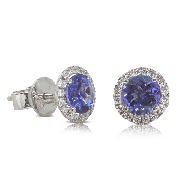 18ct White Gold 1.82ct Tanzanite & Diamond Halo Earrings - Walker & Hall