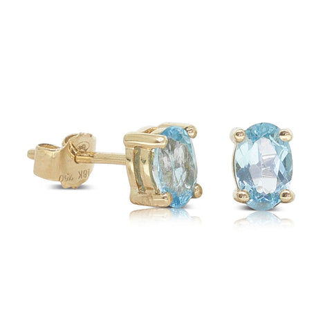 18ct Yellow Gold .80ct Blue Topaz Stud Earrings - Walker & Hall