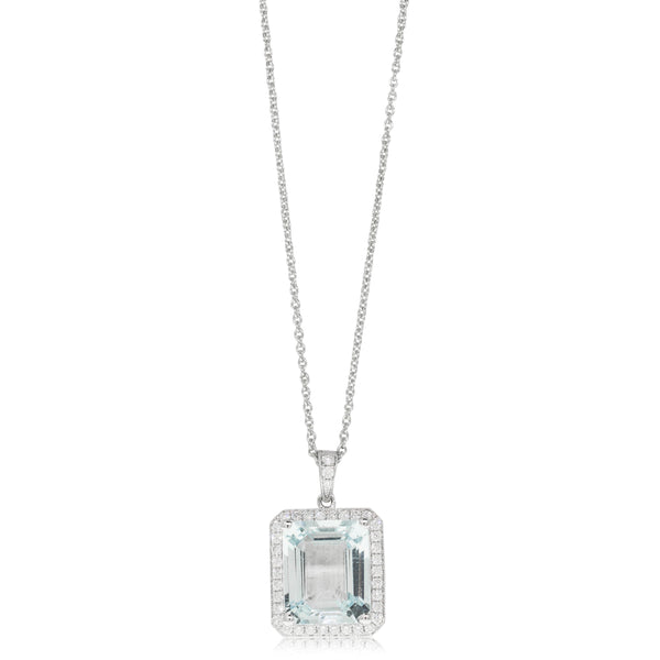 18ct White Gold 4.81ct Aquamarine & Diamond Halo Pendant - Walker & Hall
