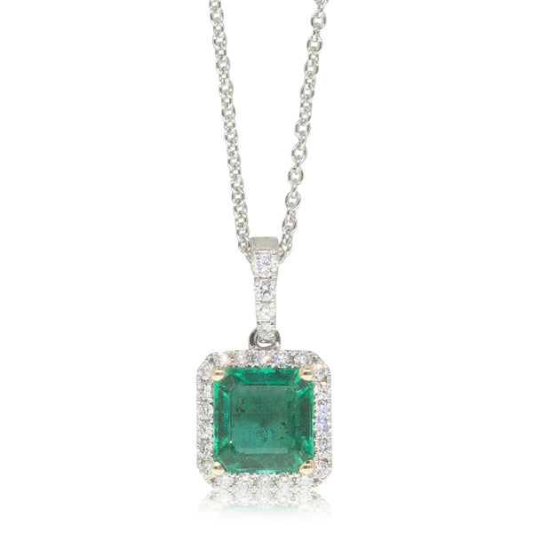 18ct White Gold 1.60ct Emerald & Diamond Halo Pendant - Walker & Hall