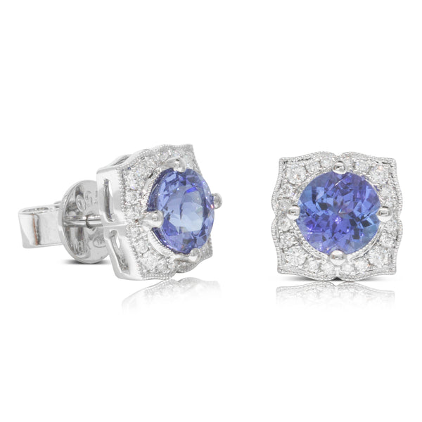 18ct White Gold 2.00ct Tanzanite & Diamond Halo Earrings - Walker & Hall