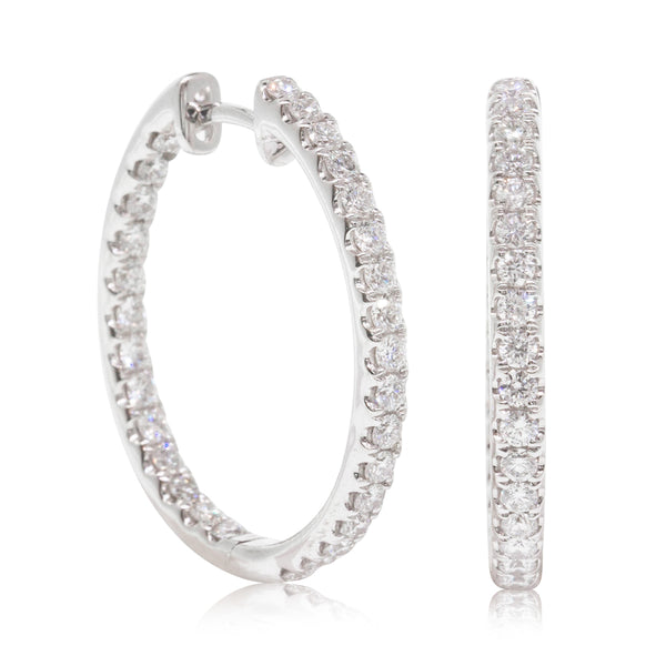 18ct White Gold 1.35ct Diamond Hoop Earrings - Walker & Hall
