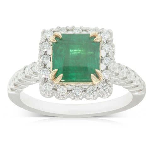 18ct White Gold 1.84ct Emerald & Diamond Halo Ring - Walker & Hall