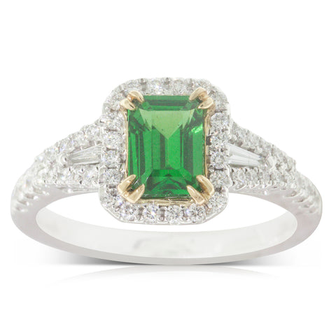 18ct White Gold 1.13ct Tsavorite & Diamond Halo Ring - Walker & Hall