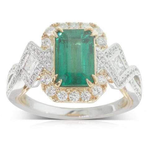 18ct White & Yellow Gold 2.20ct Emerald & Diamond Halo Ring - Walker & Hall