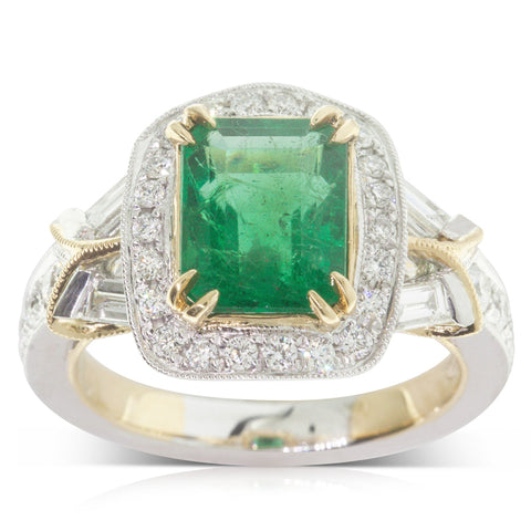 18ct White & Yellow Gold 2.73ct Emerald & Diamond Halo Ring - Walker & Hall