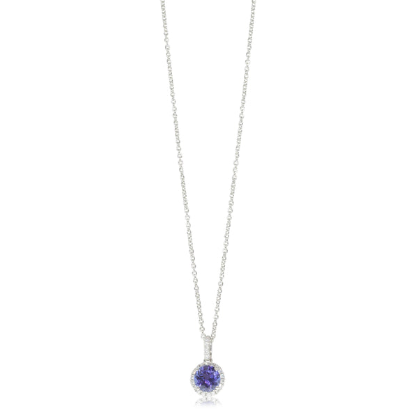 18ct White Gold .97ct Tanzanite & Diamond Halo Pendant - Walker & Hall