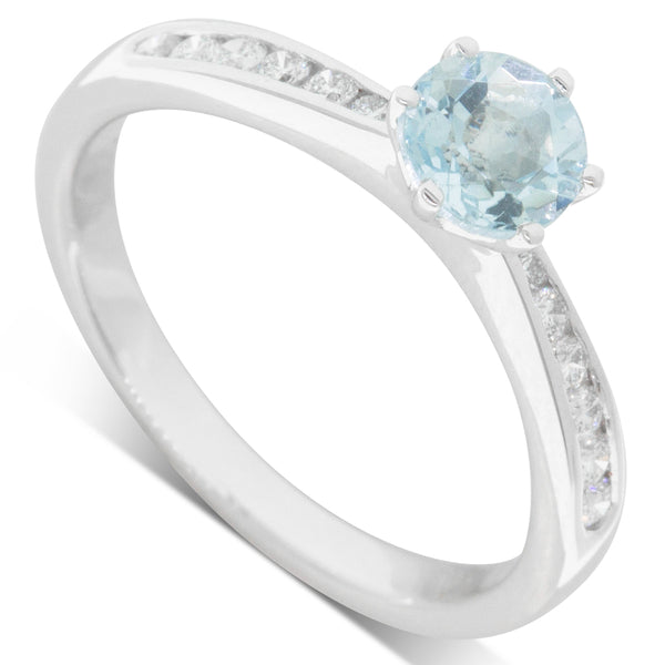 18ct White Gold .63ct Aquamarine & Diamond Avalon Ring - Walker & Hall