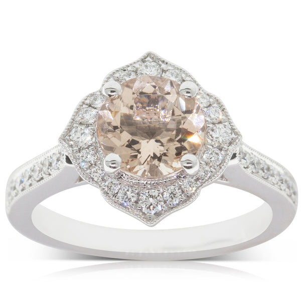 18ct White Gold 1.43ct Morganite & Diamond Halo Ring - Walker & Hall