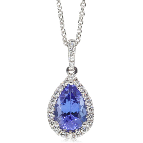 18ct White Gold 1.42ct Tanzanite & Diamond Halo Pendant - Walker & Hall