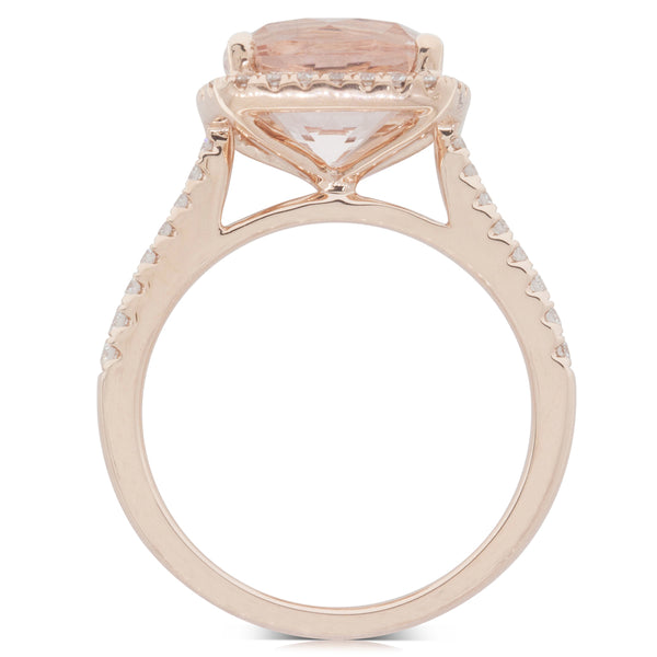 18ct Rose Gold 3.82ct Morganite & Diamond Halo Ring - Walker & Hall
