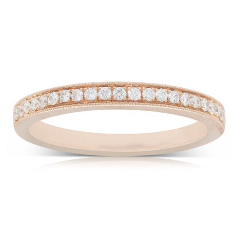 18ct Rose Gold .19ct Diamond Band - Walker & Hall