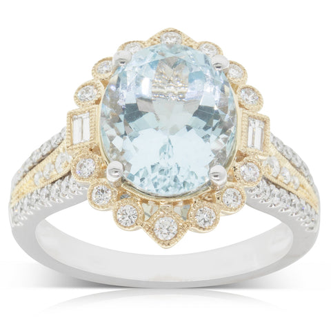 18ct White & Yellow Gold 3.48ct Aquamarine & Diamond Halo Ring - Walker & Hall
