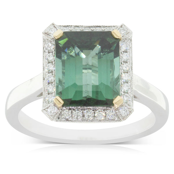 18ct White Gold 3.59ct Tourmaline & Diamond Halo Ring - Walker & Hall