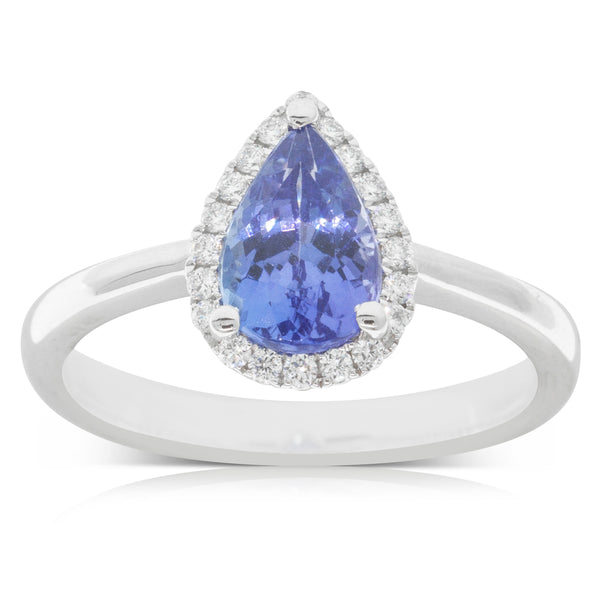 18ct White Gold 1.50ct Tanzanite & Diamond Halo Ring - Walker & Hall
