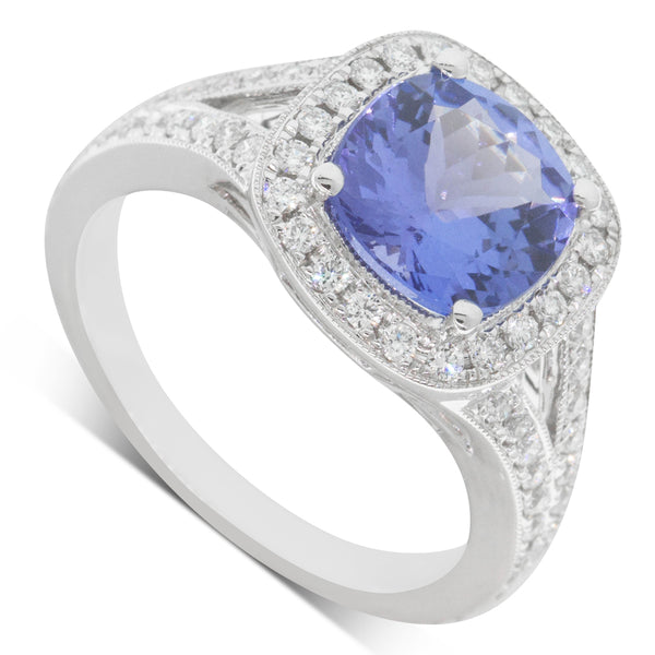 18ct White Gold 2.33ct Tanzanite & Diamond Halo Ring - Walker & Hall
