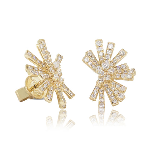 18ct Yellow Gold .67ct Diamond Asteroid Earrings - Walker & Hall