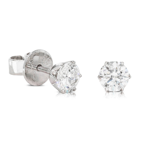 18ct White Gold .85ct Diamond Lily Earrings - Walker & Hall