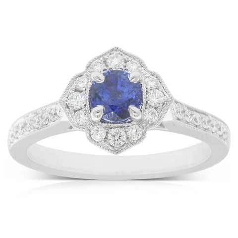 18ct White Gold .72ct Sapphire & Diamond Halo Ring - Walker & Hall